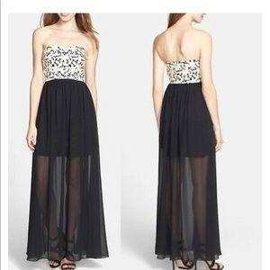 Betsey Johnson Black Laser Cut Maxi Gown